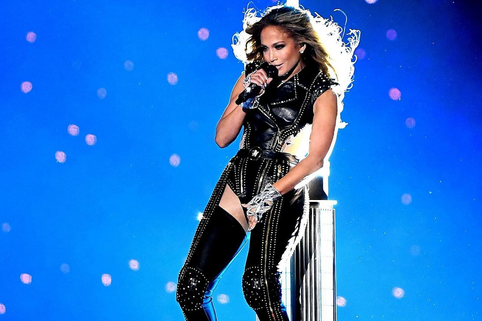 Singer Jennifer Lopez performing onstage during the Super Bowl half-time show at Hard Rock Stadium in Miami, Florida, on Sunday.