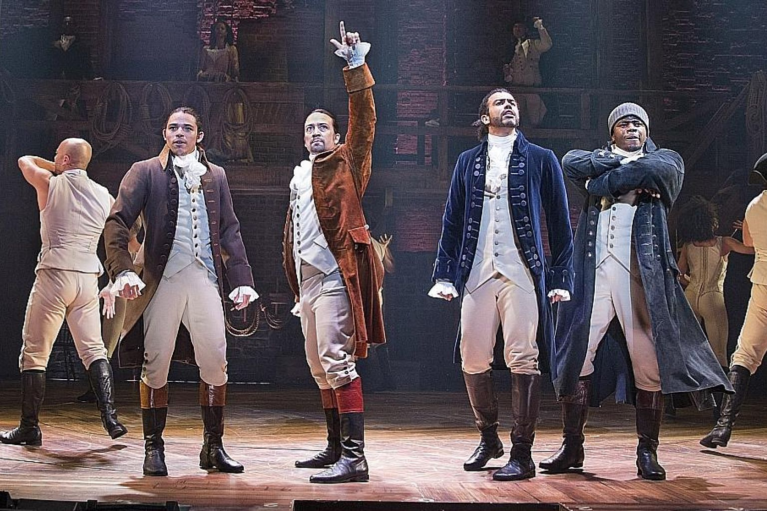 The original cast of the Hamilton musical includes (from left) Anthony Ramos, Lin-Manuel Miranda, Daveed Diggs and Okieriete Onaodowan.