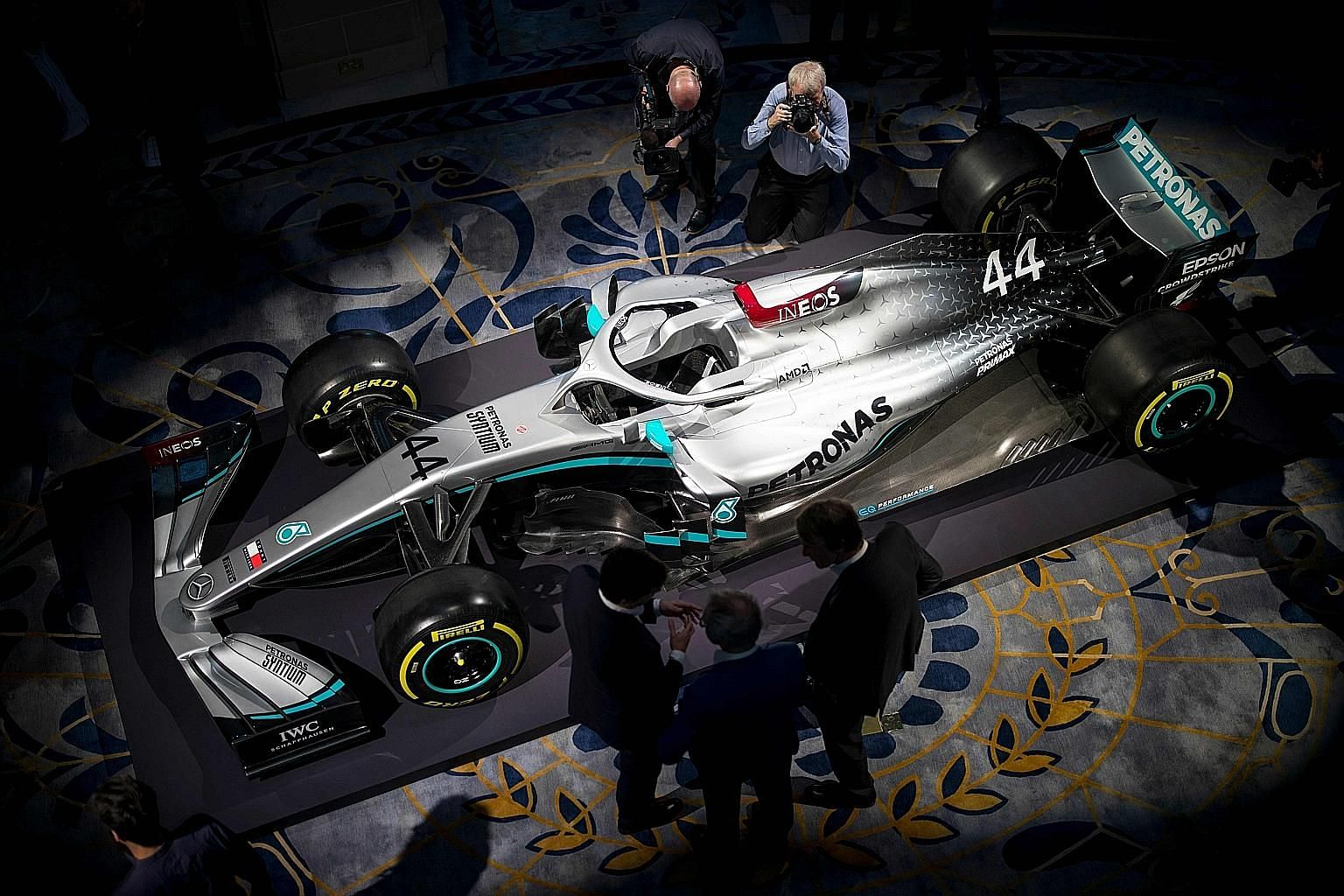 The new livery of Mercedes' 2020 Formula One car being unveiled at the Royal Automobile Club in London on Monday, when petrochemicals company Ineos was announced as a principal sponsor. The five-year deal is a statement of intent from a team who won