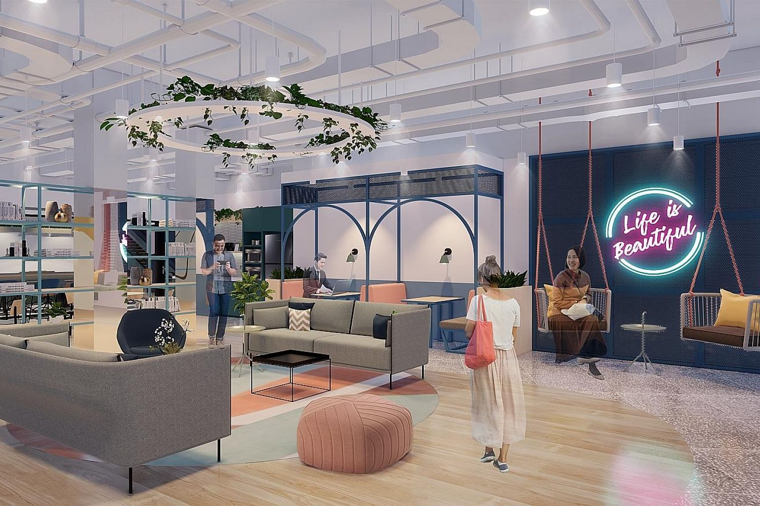 """An artist's impression of the lounge area of co-working space operator JustCo's """"smart"""" centre at The Centrepoint. The facility is expected to open in the third quarter of this year. PHOTO: JUSTCO"""