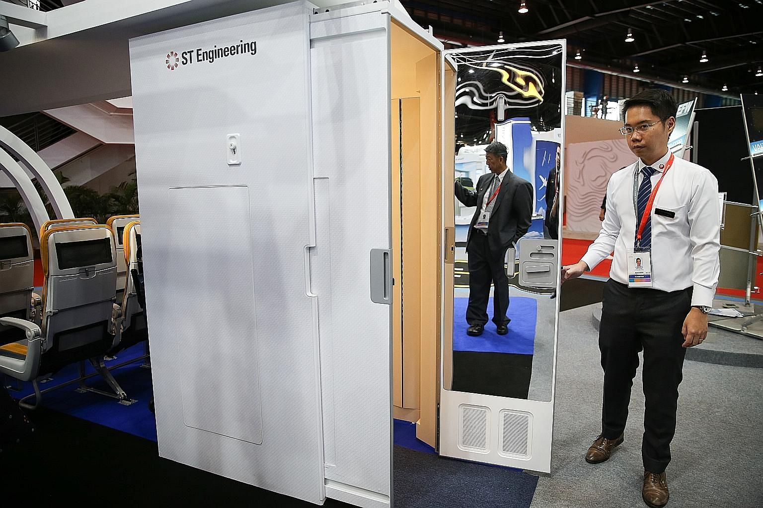 ST Engineering unveiling what it has touted as the world's first expandable lavatory at the Singapore Airshow 2020 on Wednesday.