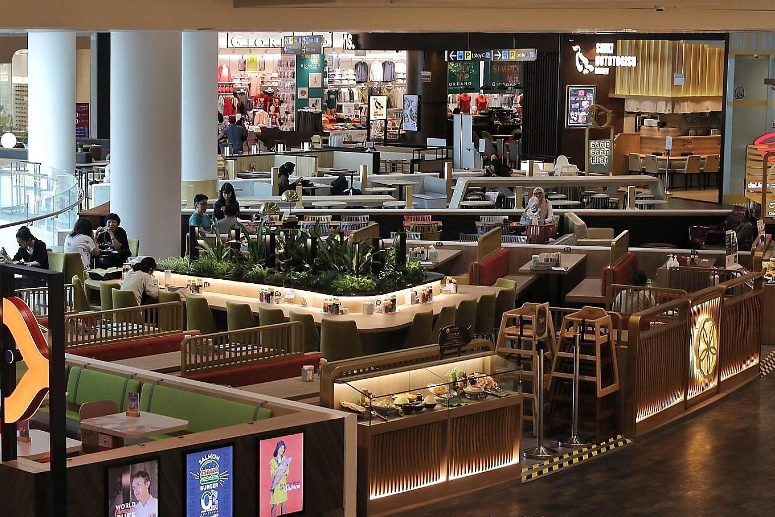 Eateries at Jewel Changi Airport yesterday. It has offered its tenants a 50 per cent rental rebate for February and March. ST PHOTO: GAVIN FOO