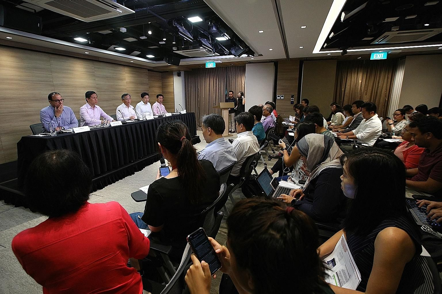 Singapore's multi-ministry task force tackling the coronavirus addressing a press conference on Jan 27. The Republic has managed to foster trust in its key institutions - the political leadership, public services and also the media - in large part be