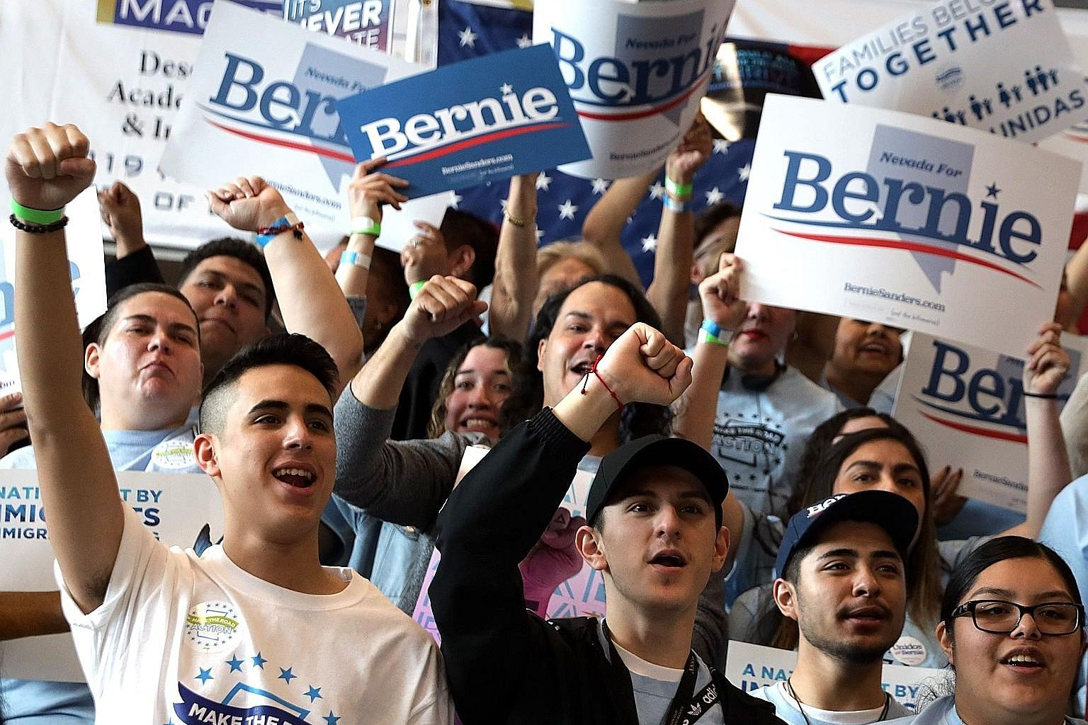 Supporters cheering for Senator Bernie Sanders during a rally at a high school in Las Vegas on Saturday.