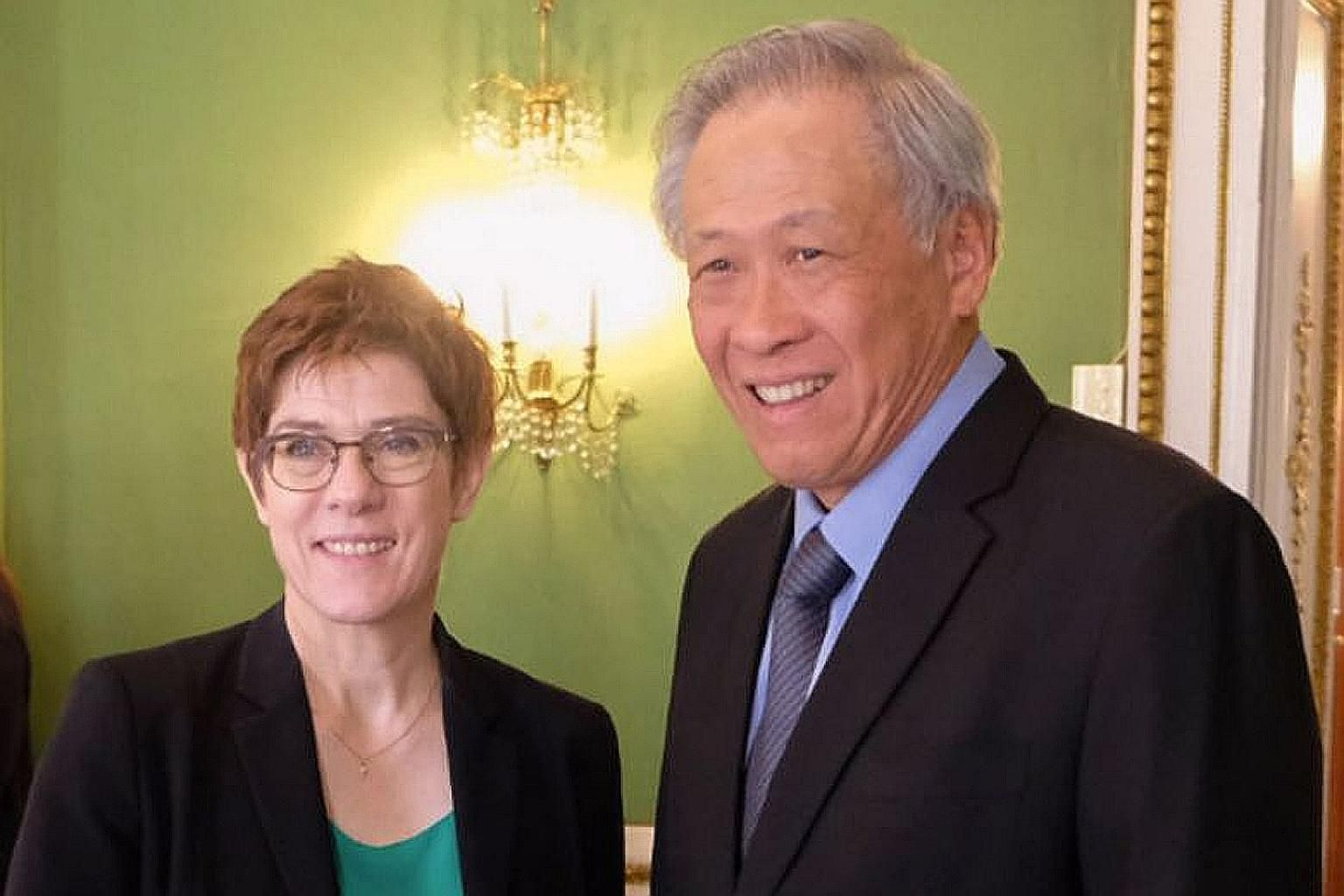 Minister for Defence Ng Eng Hen met his German counterpart Annegret Kramp-Karrenbauer on the sidelines of the 56th Munich Security Conference in Germany.