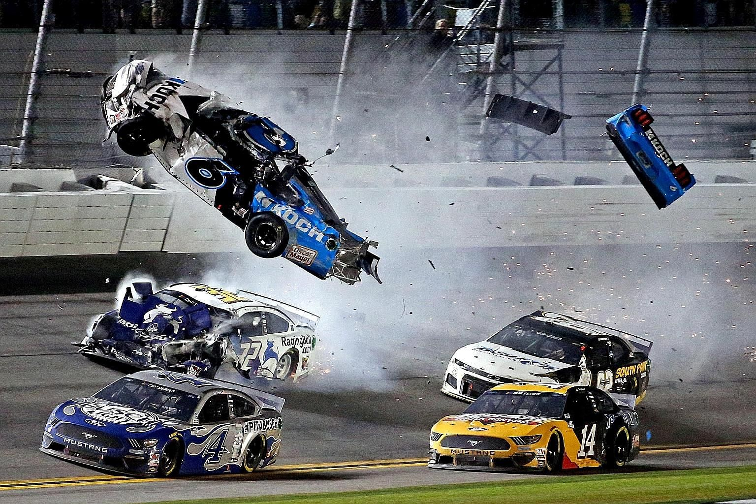 Ryan Newman's mishap was one of the worst at Daytona since Dale Earnhardt's fatal crash in 2001. PHOTO: REUTERS