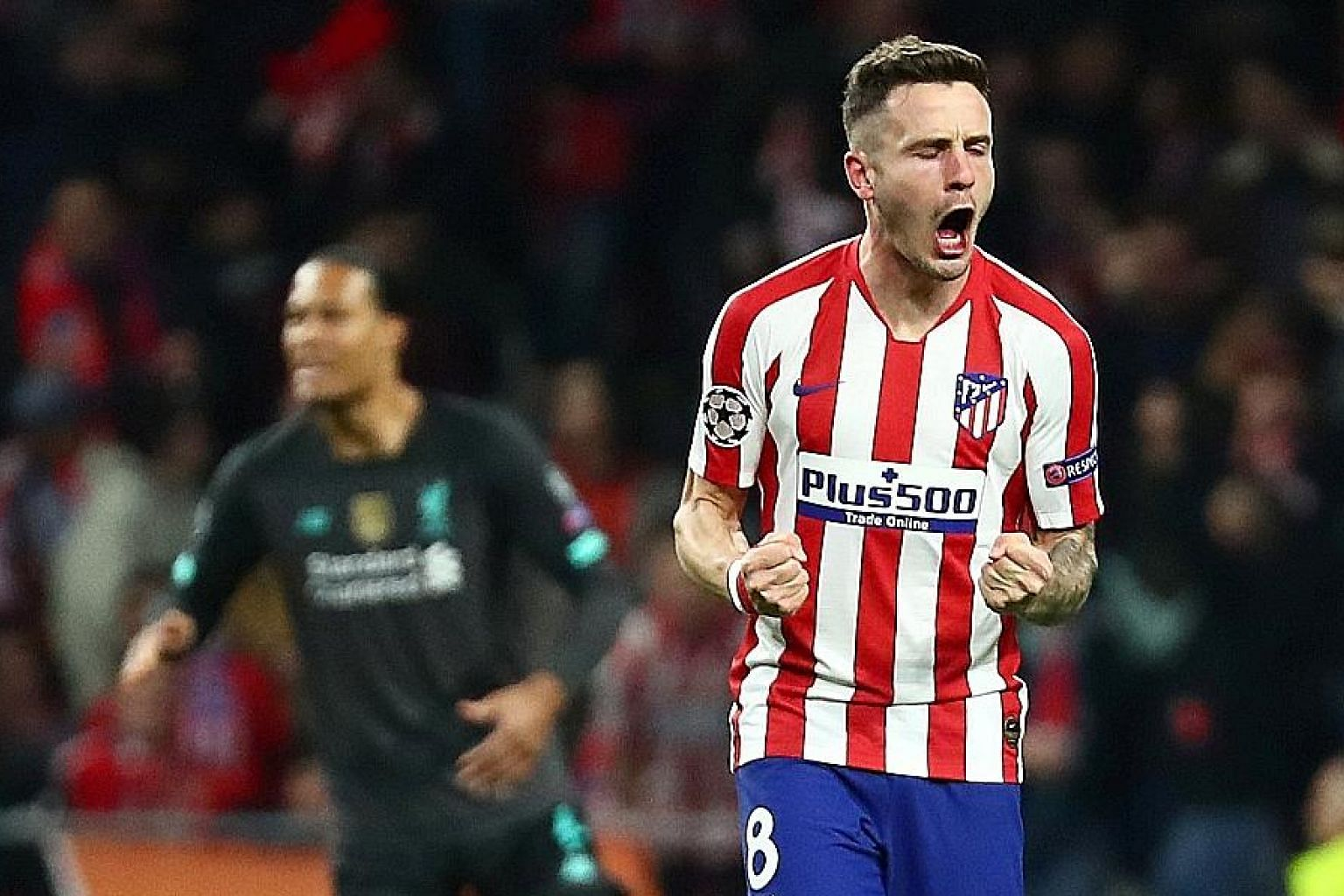 Atletico Madrid's Saul Niguez celebrating his goal in the Champions League last-16, first-leg clash against Liverpool at the Wanda Metropolitano. Atletico beat the champions 1-0 to set up a tantalising second leg at Anfield. PHOTO: REUTERS