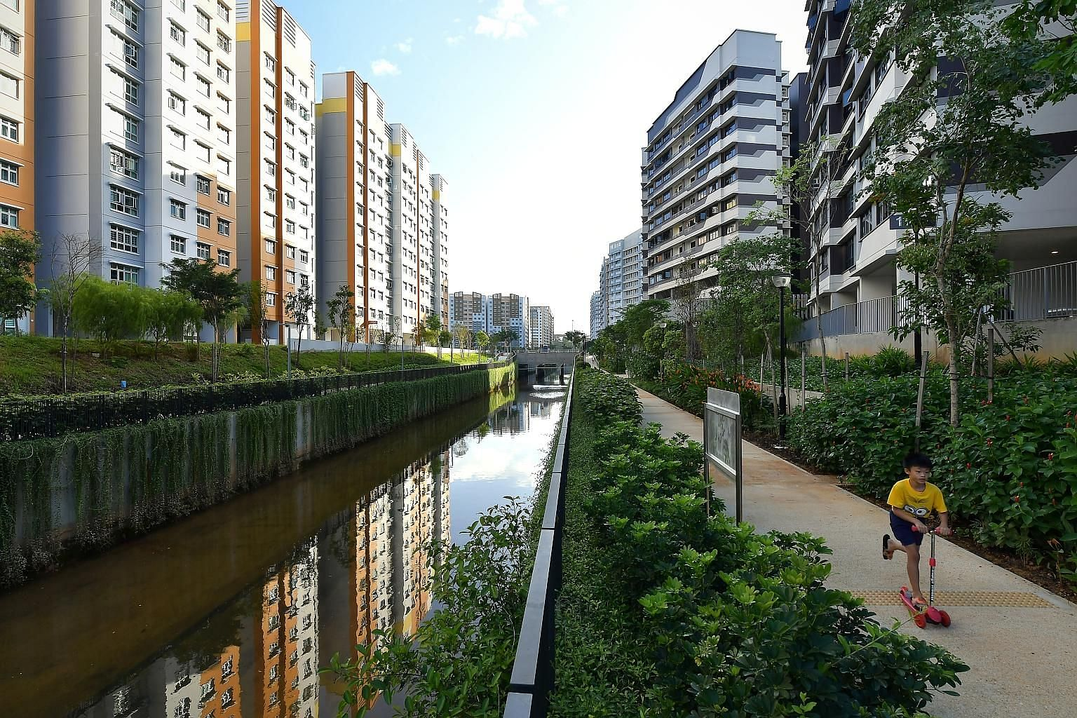 Rain gardens, new footpaths and a wide variety of flowers and plants now line the Sungei Simpang Kanan canal in Canberra, Sembawang, following a facelift. The improvement works by national water agency PUB was completed recently and unveiled yesterda