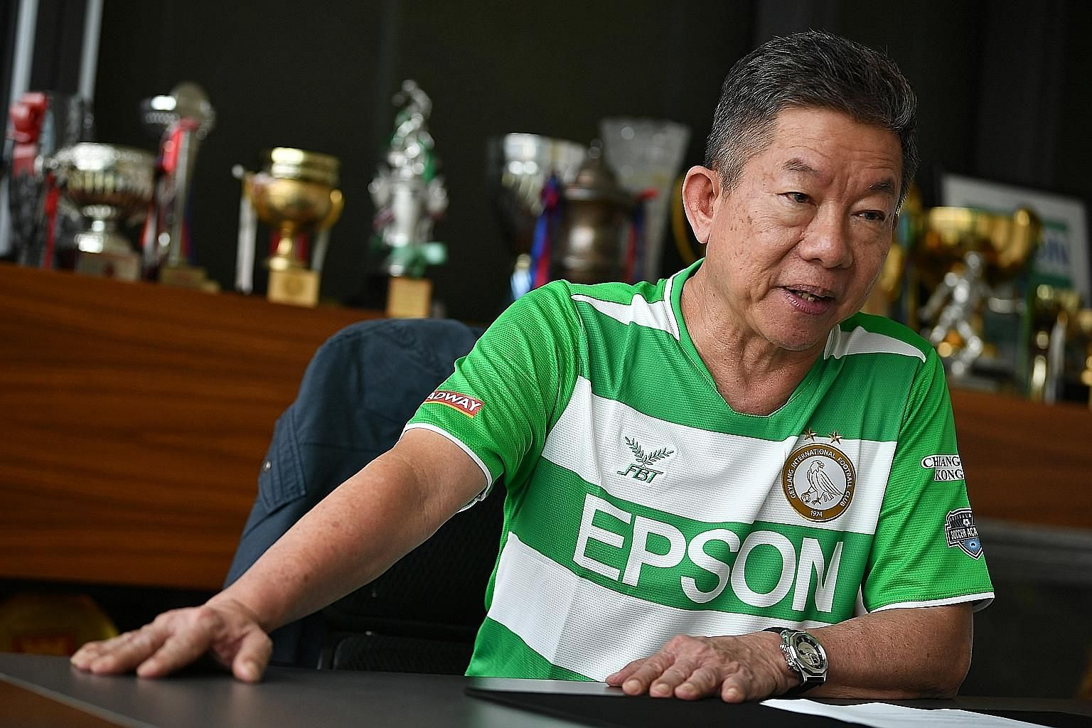 Geylang chairman Thomas Gay, 65, has set the club targets of finishing in the top five in the SPL and qualifying for AFC competitions. ST PHOTO: LIM YAOHUI