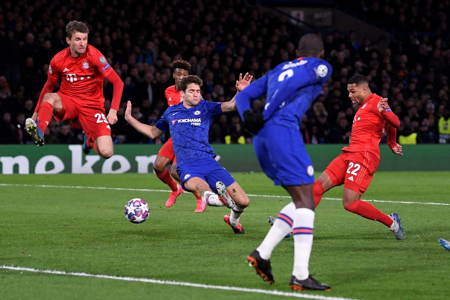 Bayern Munich's Serge Gnabry (far right) scoring the first of his two goals in the 3-0 win over Chelsea on Tuesday. The German winger is the first player in Champions League history to score his first six goals against sides from the same nation. He