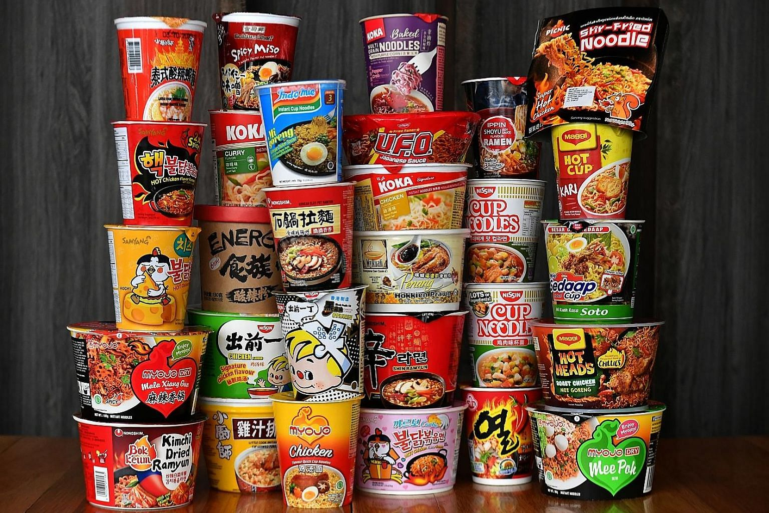 The Sunday Times did a taste test of 29 varieties of cup noodles from different brands, which included flavours that ran from basic - such as chicken - to exotic ones like Korean army stew, hot chicken cheese and mala xiang guo.