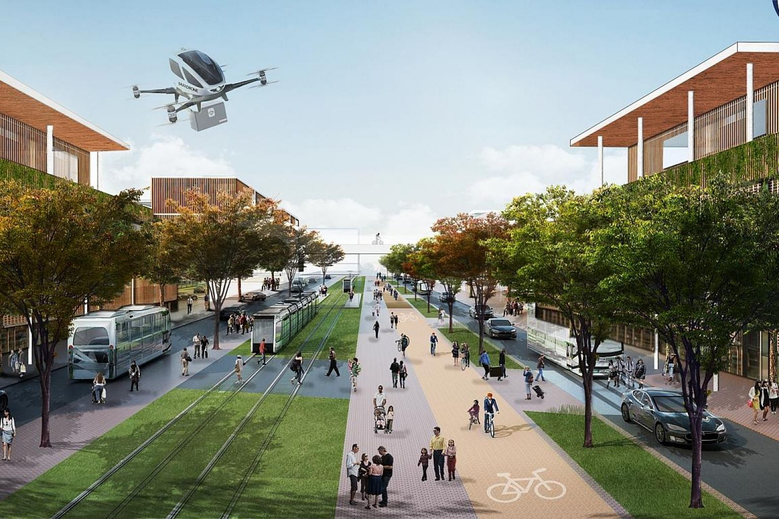 Architectural and urban planning firm Urban+'s winning entry for Indonesia's new capital (artist's impression above) includes plans for mass transit consisting of an electric tram network that can be replaced with an MRT network or a light rail later