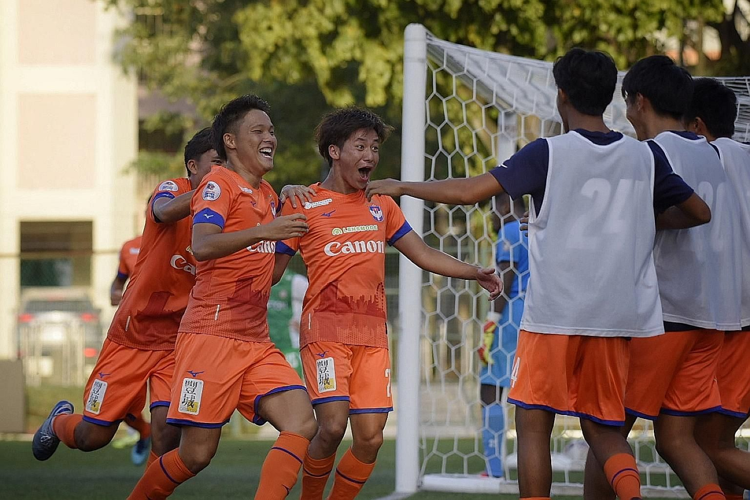 Albirex Niigata's Ryosuke Nagasawa is elated after scoring his team's second against Geylang in their Singapore Premier League opener. The Japanese side whipped their opponents 4-0. ST PHOTO: MARK CHEONG