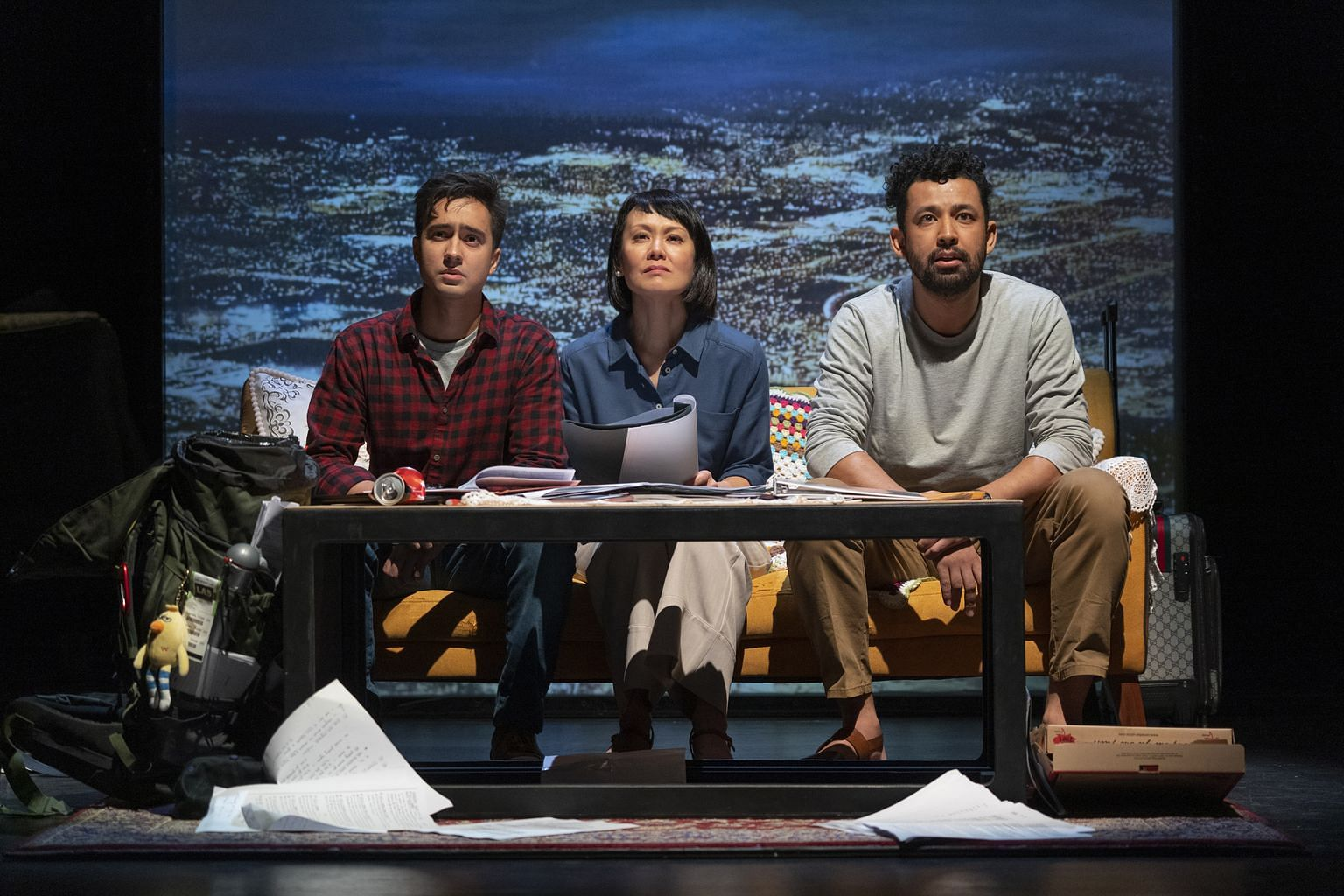 (From left) Jamil Schulze, Janice Koh and Ghafir Akbar star in The Lifespan Of A Fact.