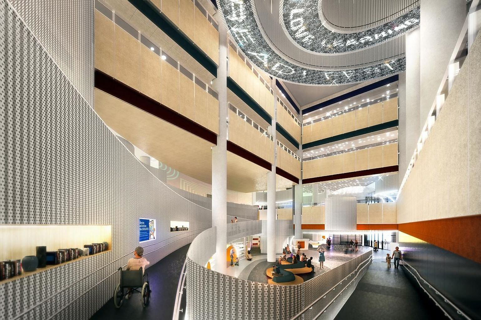 An artist's impression of the Punggol Regional Library, which will open late next year. It will offer users with disabilities and children with special needs customised services and calming zones.