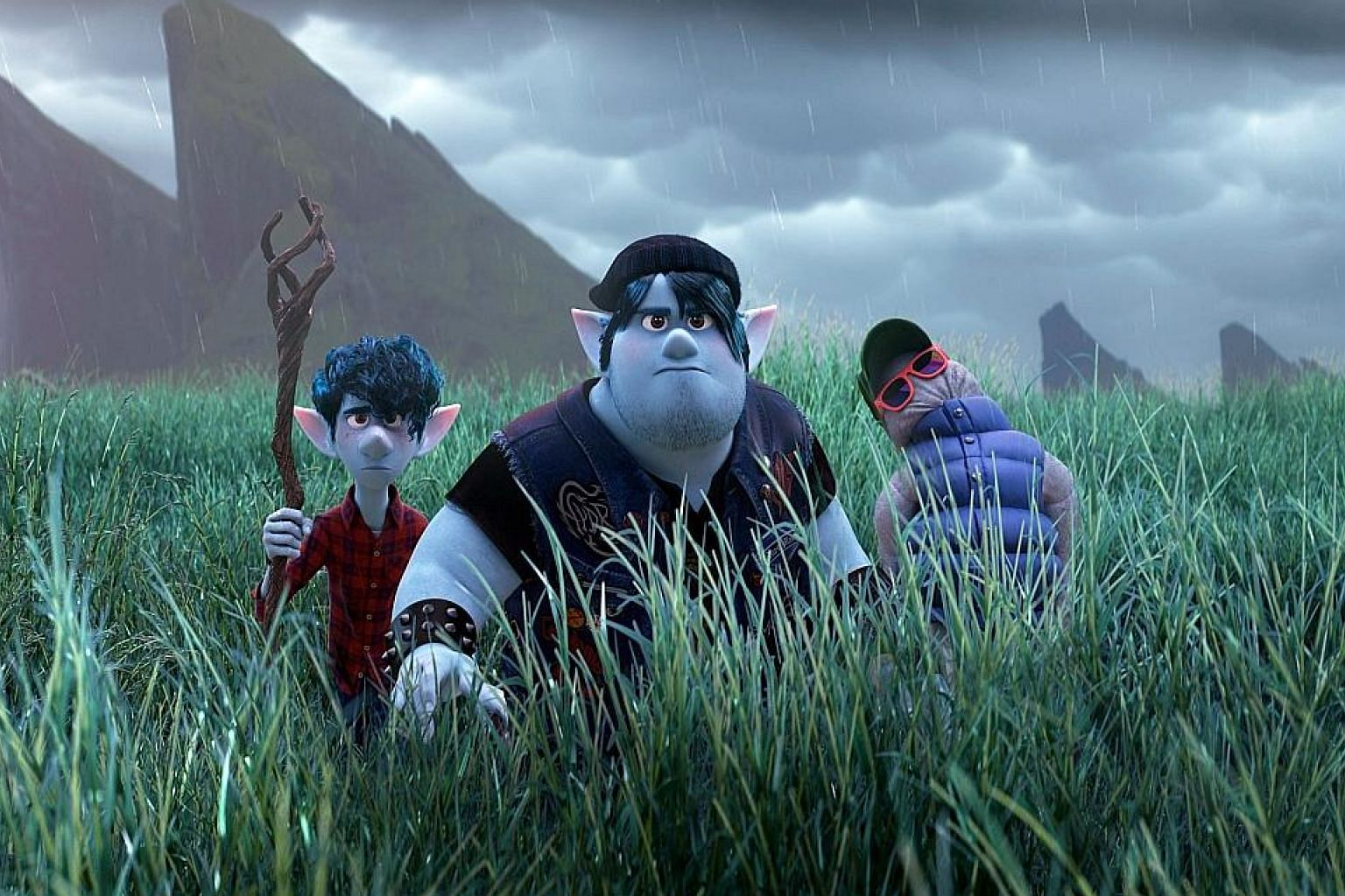 In Onward (top), two elf brothers, voiced by Chris Pratt (above, right) and Tom Holland (above, left), try to resurrect their late father using magic.
