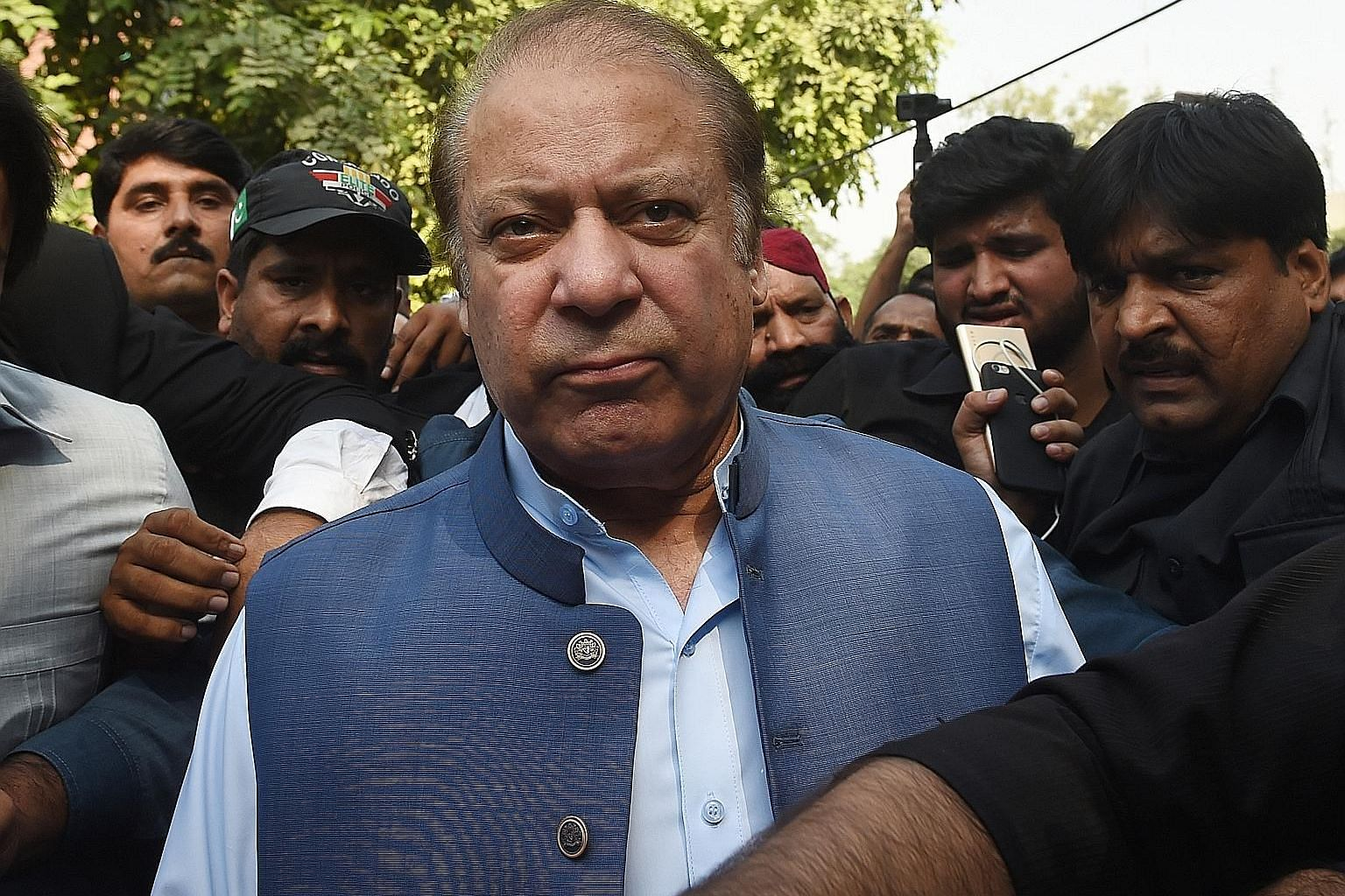 Former Pakistan premier Nawaz Sharif was serving a seven-year jail term before a court granted him indefinite bail on medical grounds, after which he flew to Britain for medical treatment.