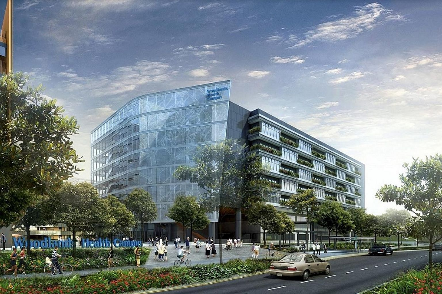 Above: The Silver Zone Gateway at Bukit Merah View, informing motorists to slow down. A total of 50 Silver Zones will be built island-wide by 2023. ST FILE PHOTO Left: An artist's impression of Woodlands Health Campus, which will open progressively f
