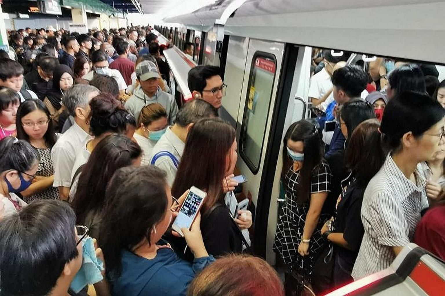 Commuters at Bukit Batok MRT station, which was also affected as it is on the North-South Line, yesterday. PHOTO: ST READER MRT stations like Yishun (above) were jampacked with crowds when the train service from Bishan to Yio Chu Kang towards Jurong