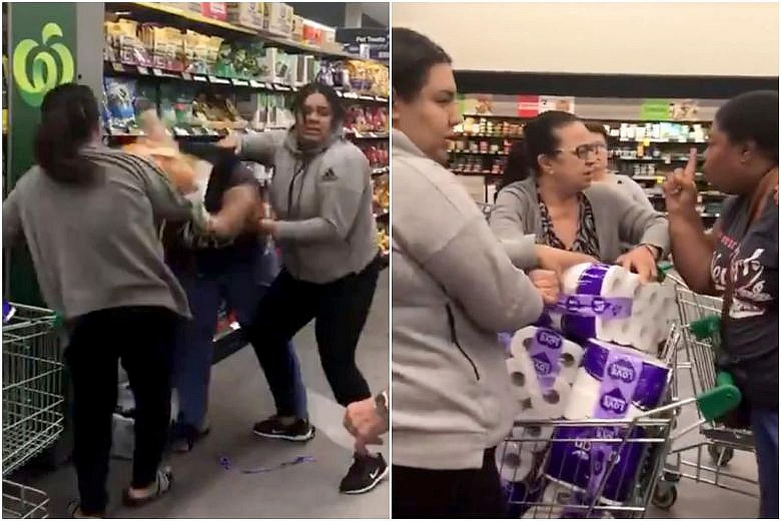 A video widely shared online shows three women pulling one another's hair and screaming as they struggle over a large pack of toilet rolls in the aisle of a grocery store in Sydney.