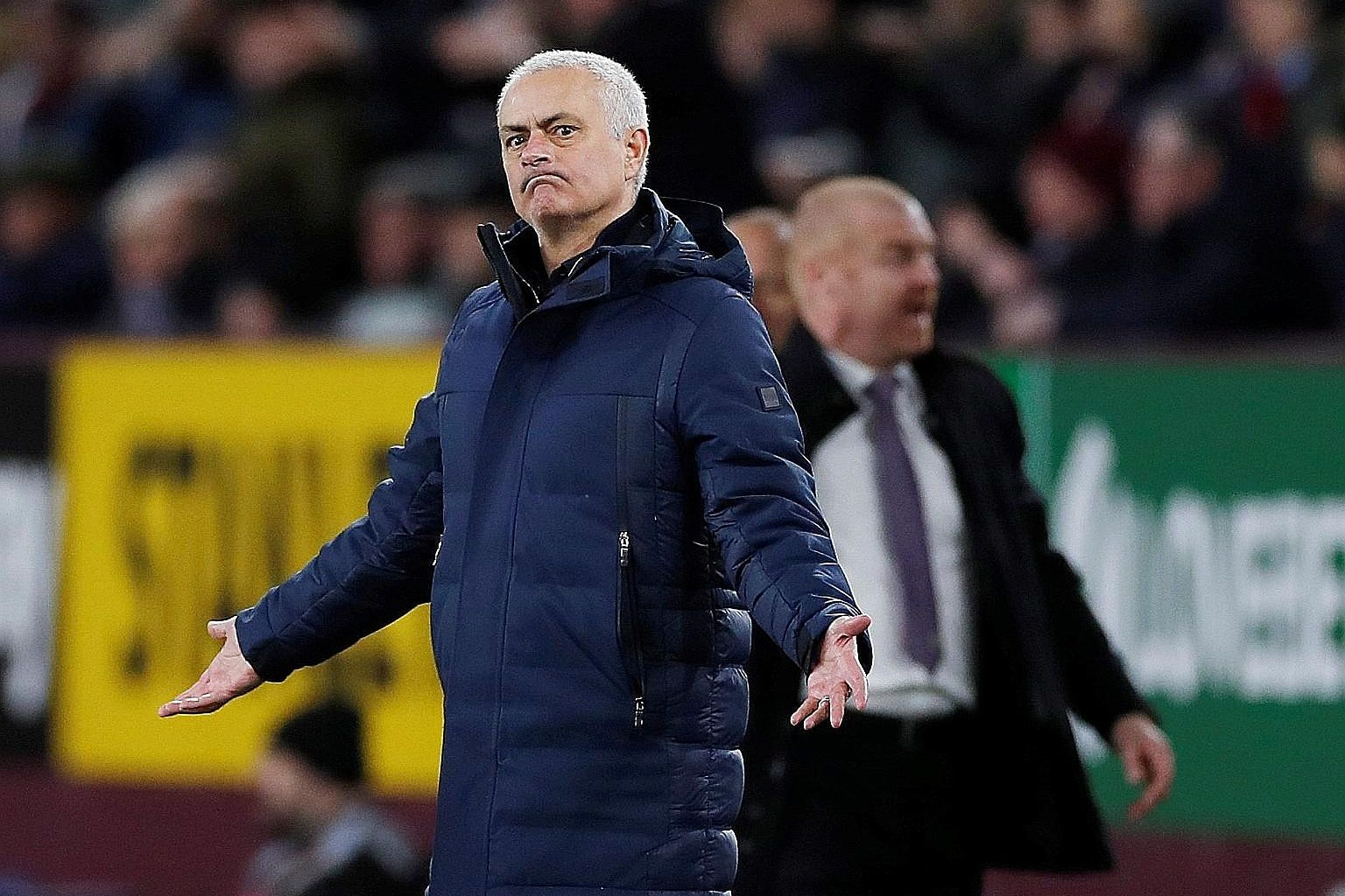 """Tottenham Hotspur manager Jose Mourinho gesturing during their 1-1 draw with Burnley at Turf Moor on Saturday. He later criticised midfielder Tanguy Ndombele, saying the Frenchman has to """"give us more""""."""