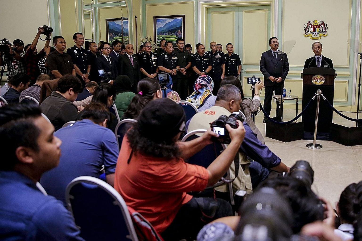 Malaysian Prime Minister Muhyiddin Yassin speaking at a news conference in Putrajaya yesterday.