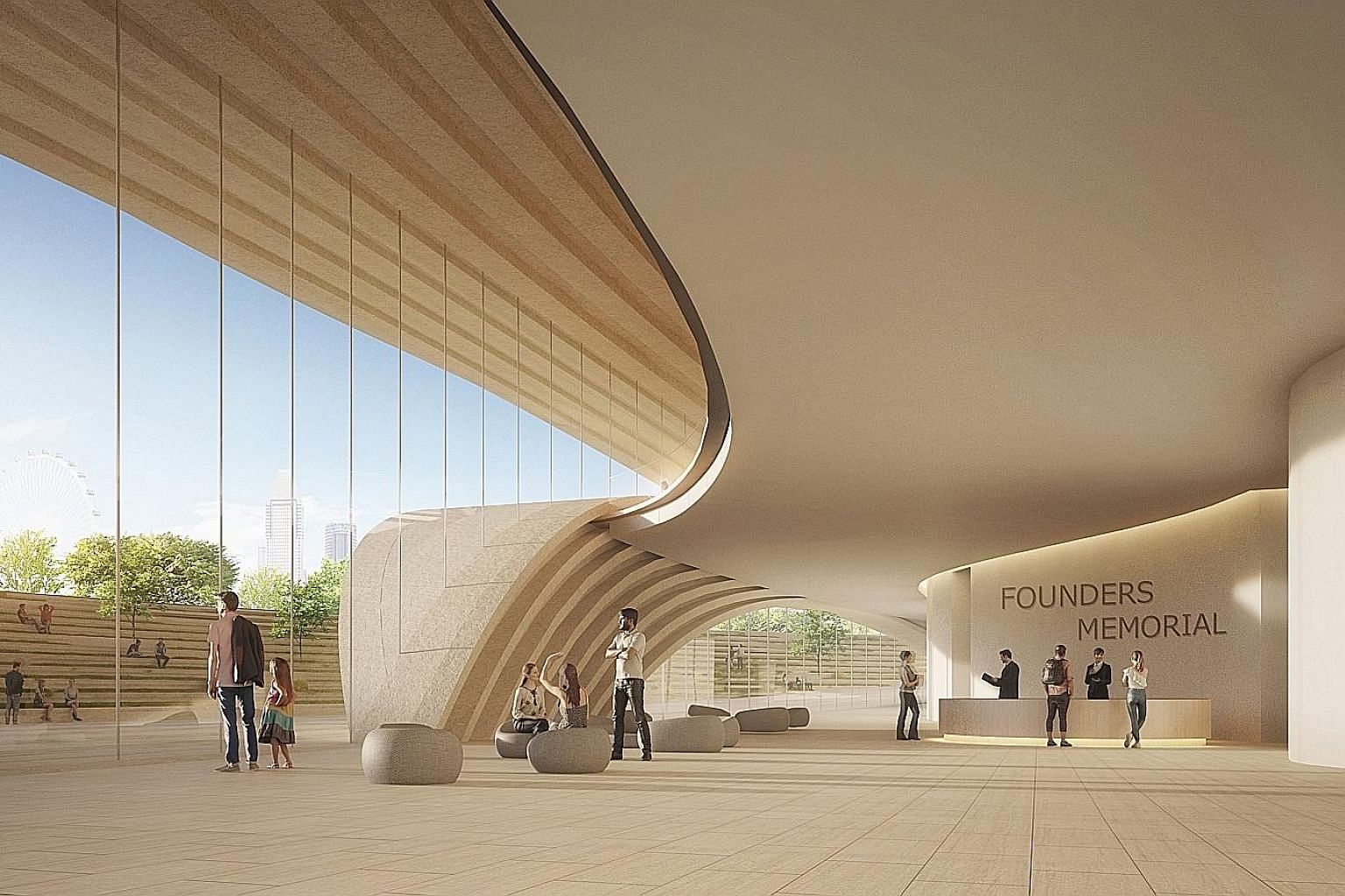 Top: An artist's impression of the visitor centre lobby. Centre: A forest trail is one of the proposed elements of the design, which also features a viewing gallery, a lake as well as an amphitheatre for gatherings. Bottom: An artist's impression of