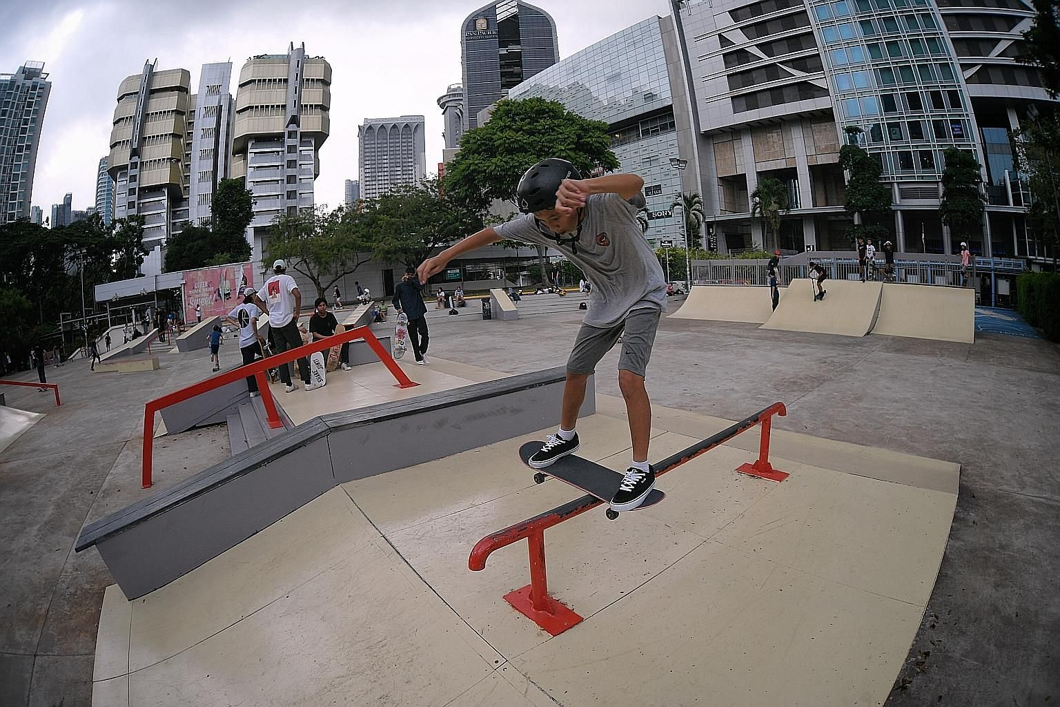 Skateboarder Cillian Lim, 13, trying out the features at the revamped Somerset Skatepark, which will host the Asian Street Skateboarding Championships from next Tuesday to March 21. ST PHOTO: MARK CHEONG