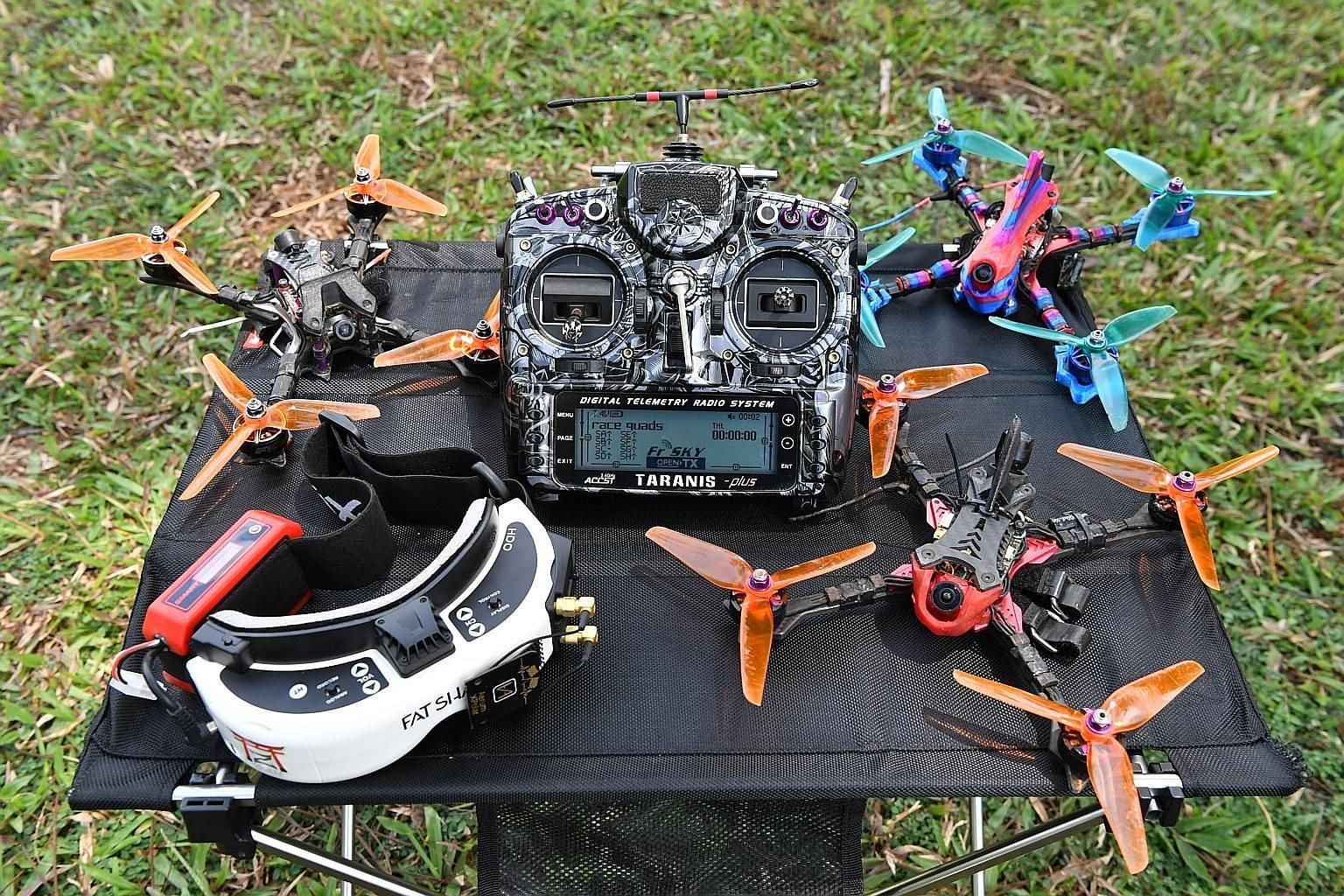 Depending on how quickly one takes to the sport and how often one crashes, drone racers in Singapore spend between $3,000 and $5,000 a year on their hobby.