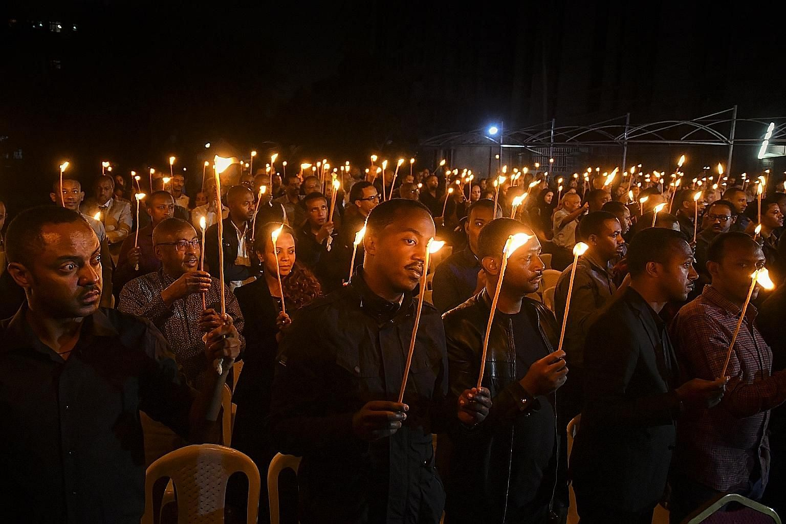 A memorial service for UN staff killed in the crash, held at the UN Economic Commission for Africa headquarters in Addis Ababa. Family members of the victims, among others, attending a memorial service in Addis Ababa on Tuesday for the 157 people who