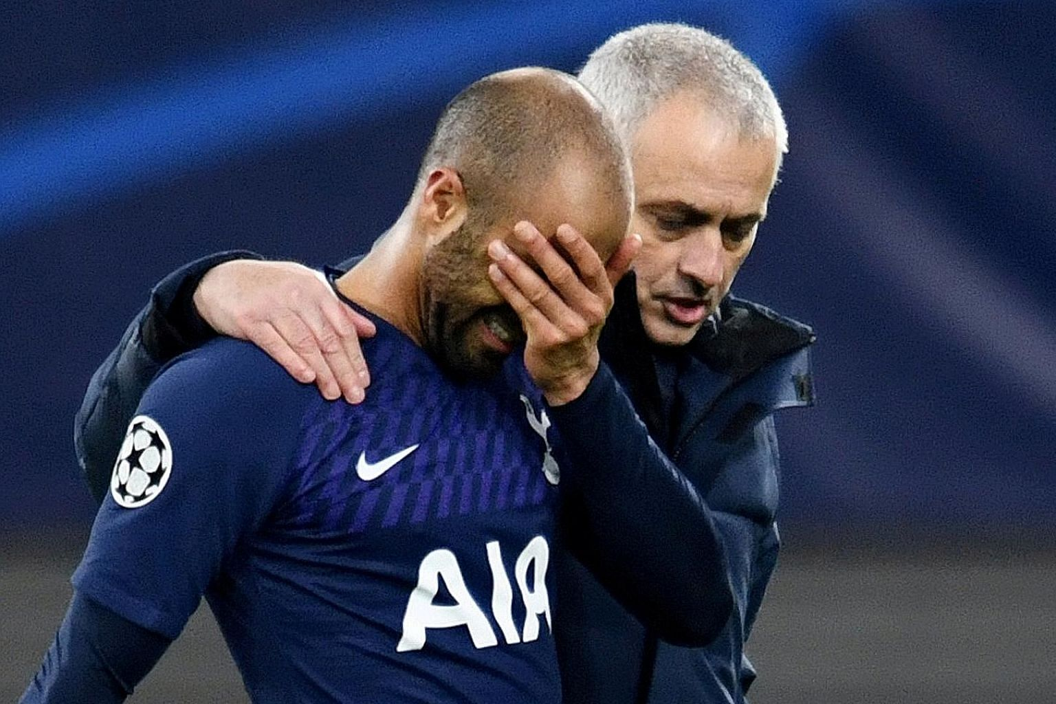 Tottenham forward Lucas Moura being comforted by his manager Jose Mourinho following their 3-0 Champions League second-leg defeat at RB Leipzig. Spurs, who were missing key players like Harry Kane, Son Heung-min and Davinson Sanchez owing to injury,