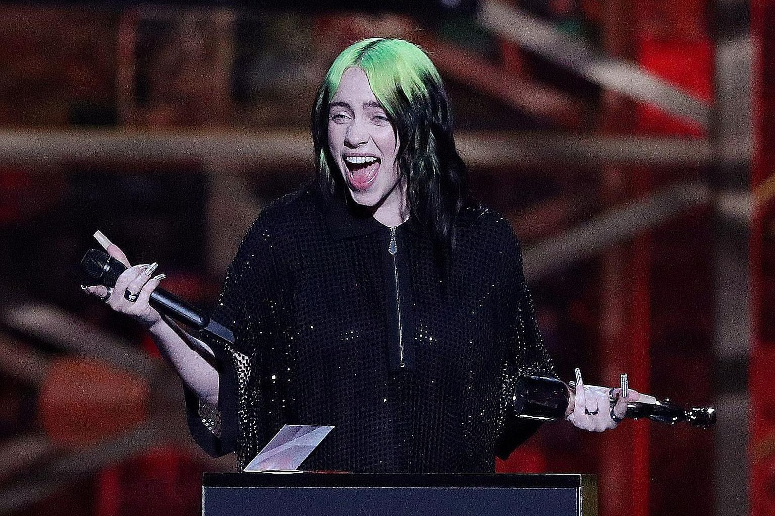 Singer Billie Eilish receiving the award for International Female Solo Artist at the Brit Awards in London last month.