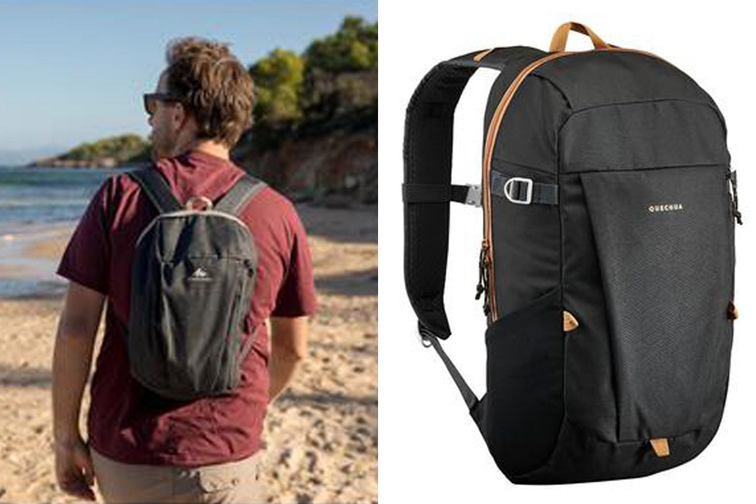 Decathlon's house brand Quechua sells a 10-litre hiking backpack (far left) which retails for just $4. The brand also makes a 20-litre version (left) that retails for $10.