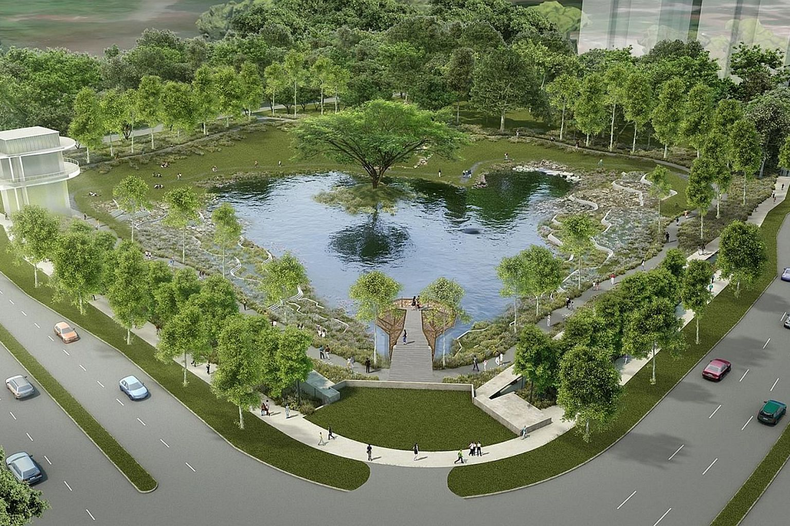 An artist's impression of Alkaff Lake in Bidadari estate. In dry weather, its grassy banks will make a perfect communal space for residents of the area. But the artificial lake will be designed as more than just a pretty spot to hang out at. It is al