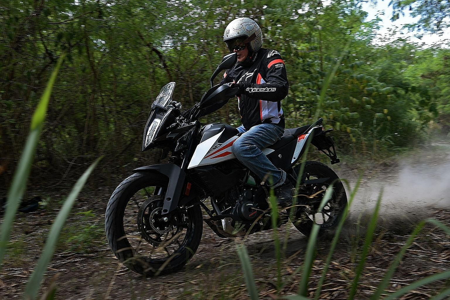 The 373cc KTM 390 Adventure can keep up on gravel or logging trails. Best of all, you do not have to manhandle it because of its 158kg dry weight and modest performance figures compared with more powerful motorcycles..