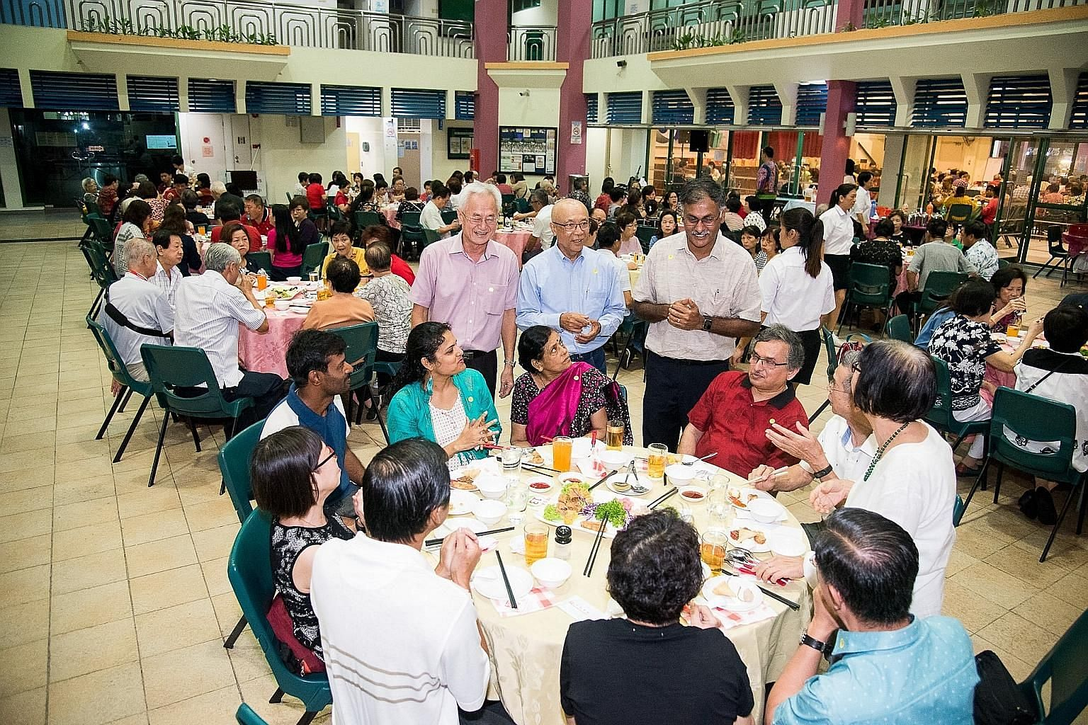 Mr Murali Pillai with guests at the dinner on March 7. He said precautions taken included mandatory temperature checks and advising those who were unwell to see a doctor and stay home. PHOTO: BUKIT BATOK, OUR HOME/FACEBOOK