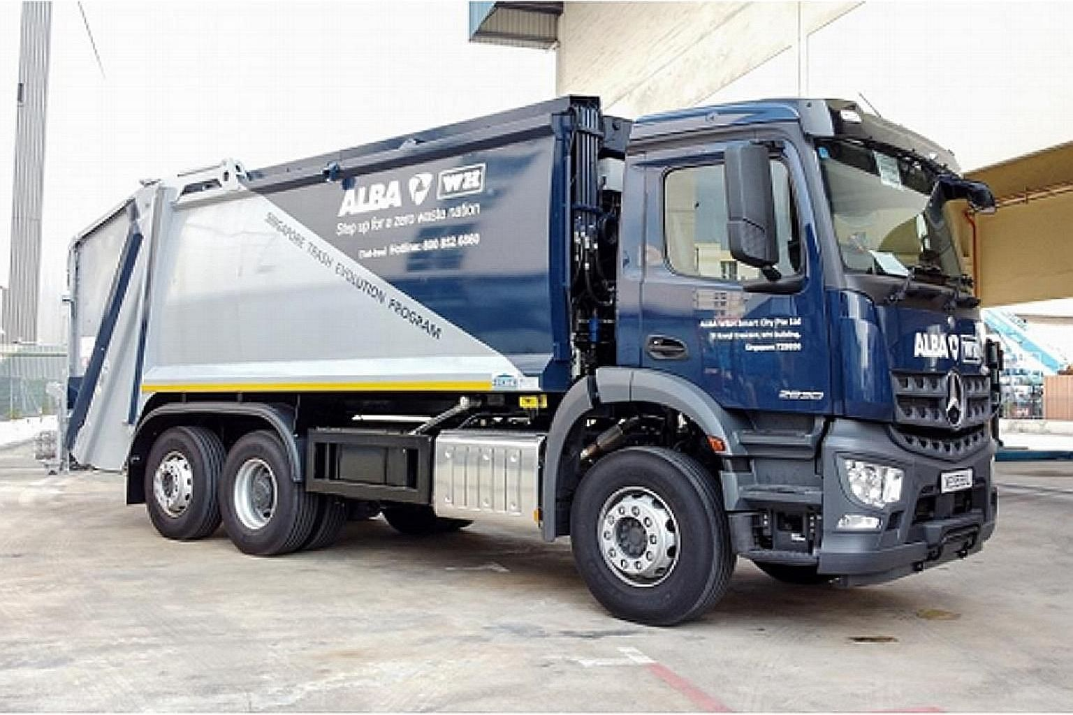 The new environmentally friendly waste collection trucks from Alba W&H have solar mats installed on their roofs (far right) to reduce fuel consumption and carbon emissions. PHOTOS: ALBA W&H