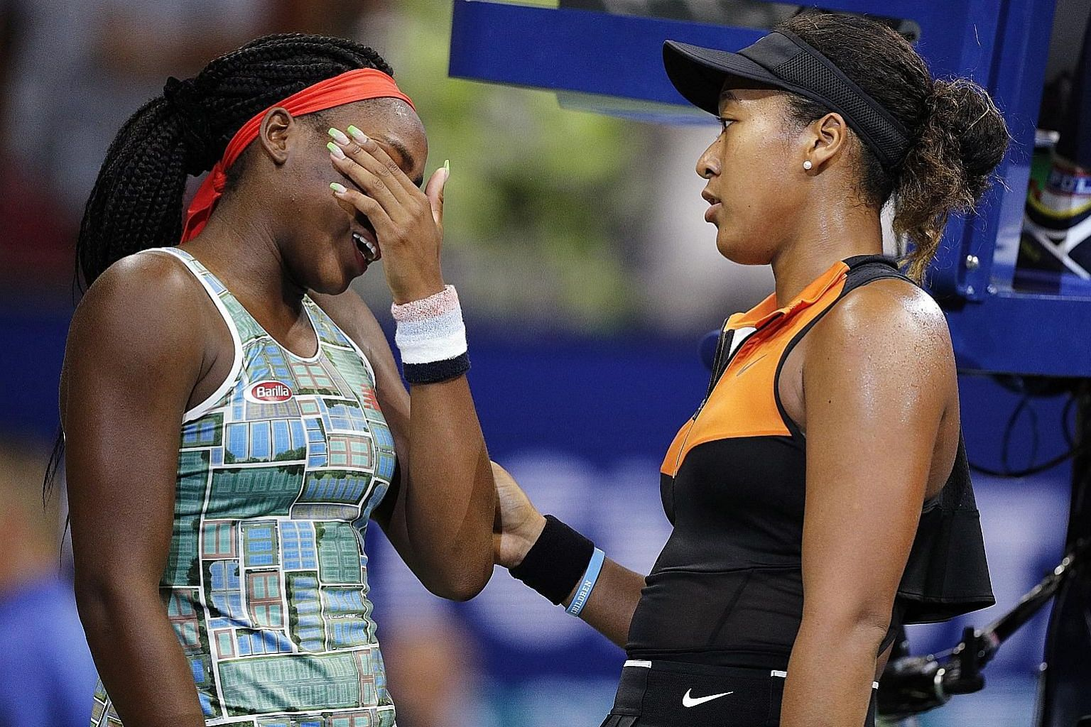 Left: Japanese Naomi Osaka consoling Coco Gauff after beating her at the US Open in New York last August. The American teen won their next Grand Slam encounter at the Australian Open in Melbourne in January, also in the round of 32. PHOTO: EPA-EFE Be
