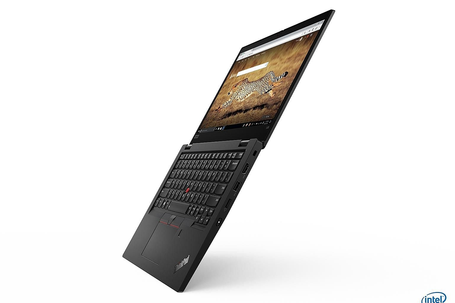The ThinkPad L13 is a clamshell notebook with sturdy hinges that can open to 180 degrees, thus allowing it to open flat on a desk.
