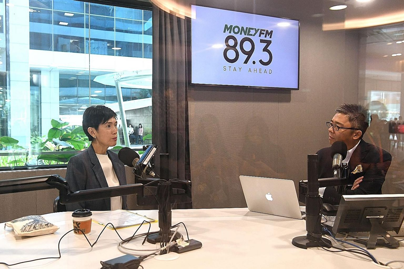 Manpower Minister Josephine Teo at a radio interview with Money FM 89.3's Bernard Lim yesterday.