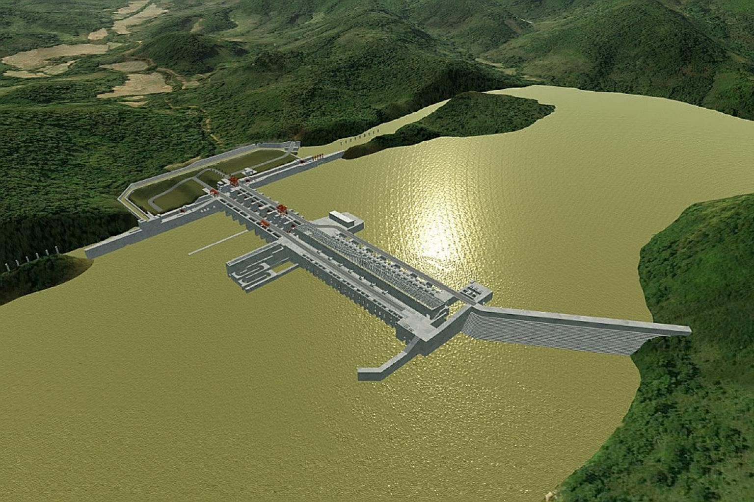 An artistic rendering of the proposed 1,400MW Luang Prabang hydropower dam on the Mekong River in Laos as seen in an undated handout. Environmentalists have warned that dams will harm fisheries and farming.