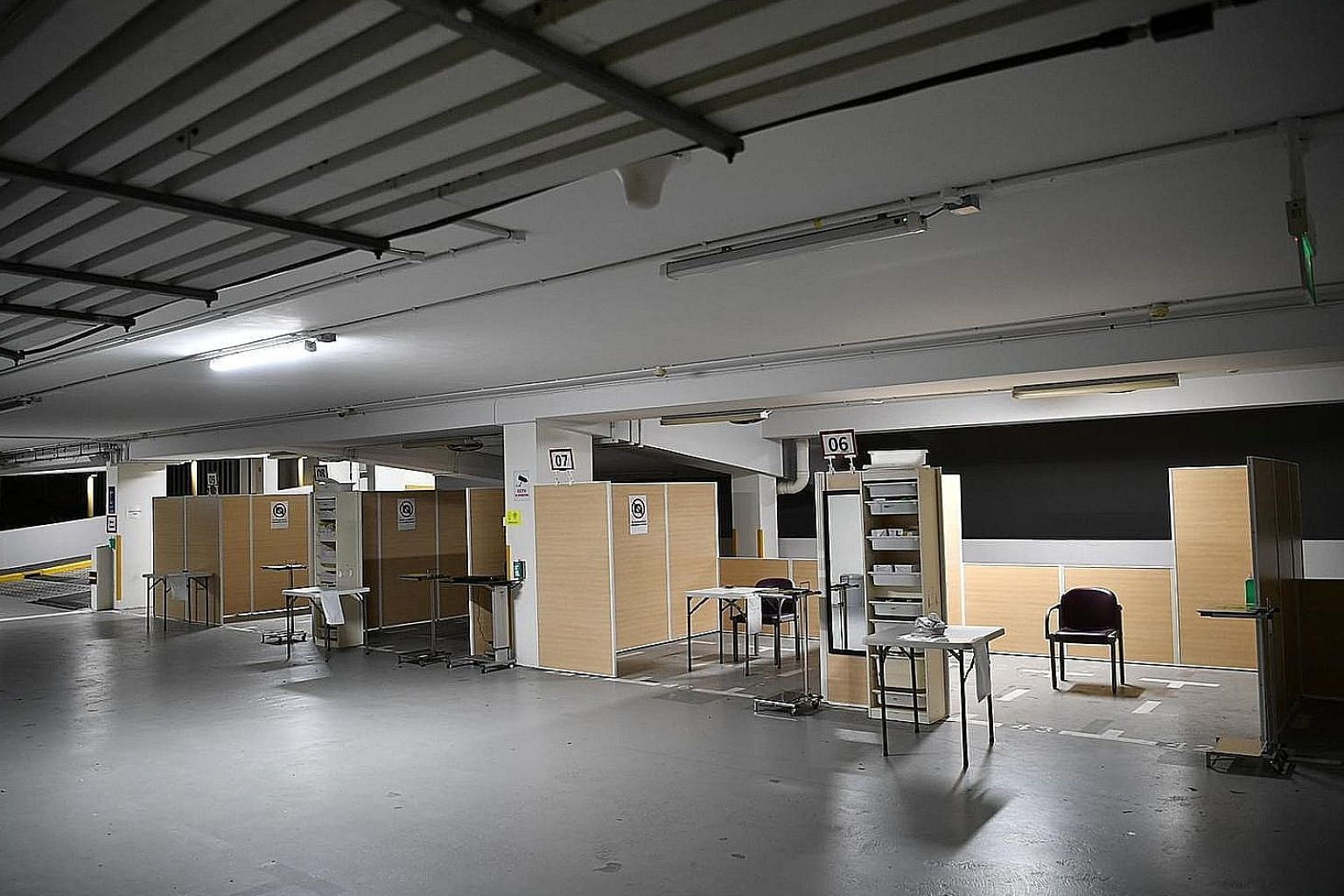 Singapore General Hospital is converting part of a multi-storey carpark into a fever screening area to help manage the growing number of patients infected with the coronavirus. ST PHOTO: ARIFFIN JAMAR