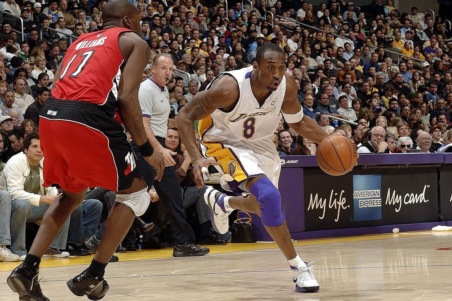 Kobe Bryant of the Los Angeles Lakers battling his way to an 81-point performance against the Toronto Raptors on Jan 22, 2006. The Lakers won 122-104 and Bryant's stunning display was behind only Wilt Chamberlain's 100-point performance. Just over 14