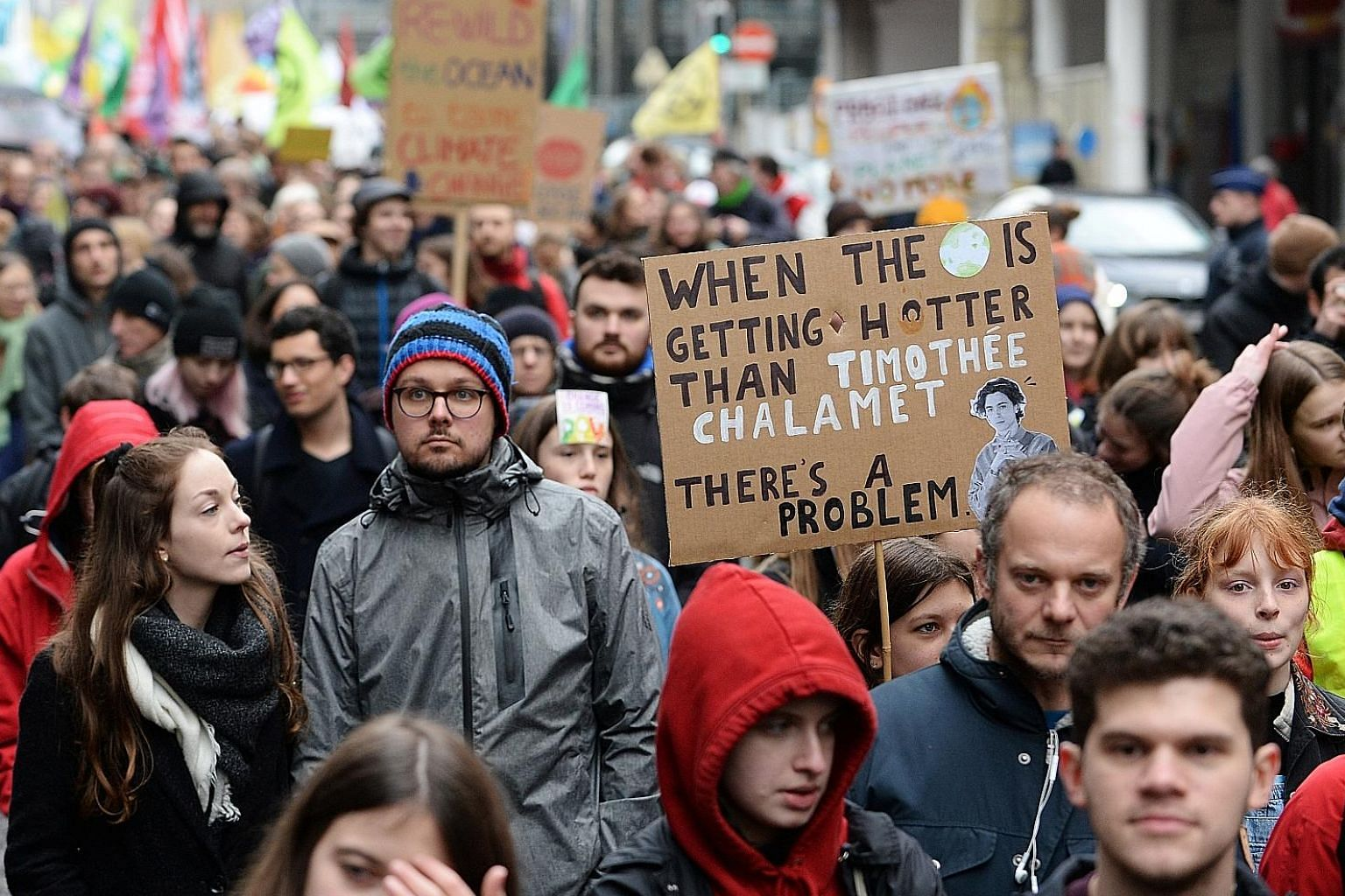 Demonstrators at a rally for climate change action in Brussels, Belgium, earlier this month. Around the world, the number of climate activists is swelling and their voices are growing louder. In March last year, more than a million students in hundre