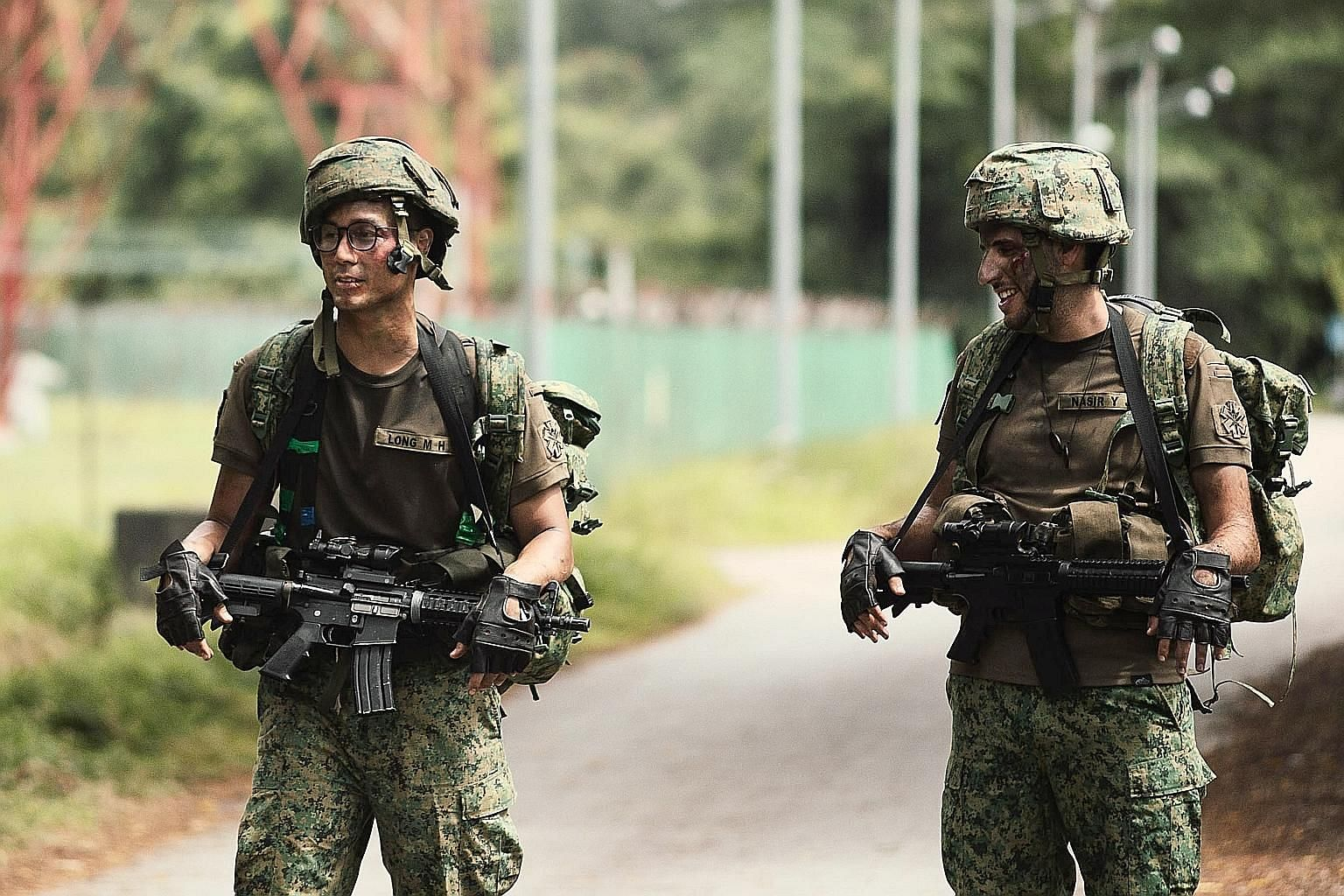 Singapore actor Andie Chen (left) and Nuseir Yassin, the vlogger known as Nas Daily, play soldiers in Chen's effects-heavy film about war, The Last Song. It is slated to be released next month and can be viewed on the Storeys website and Facebook pag