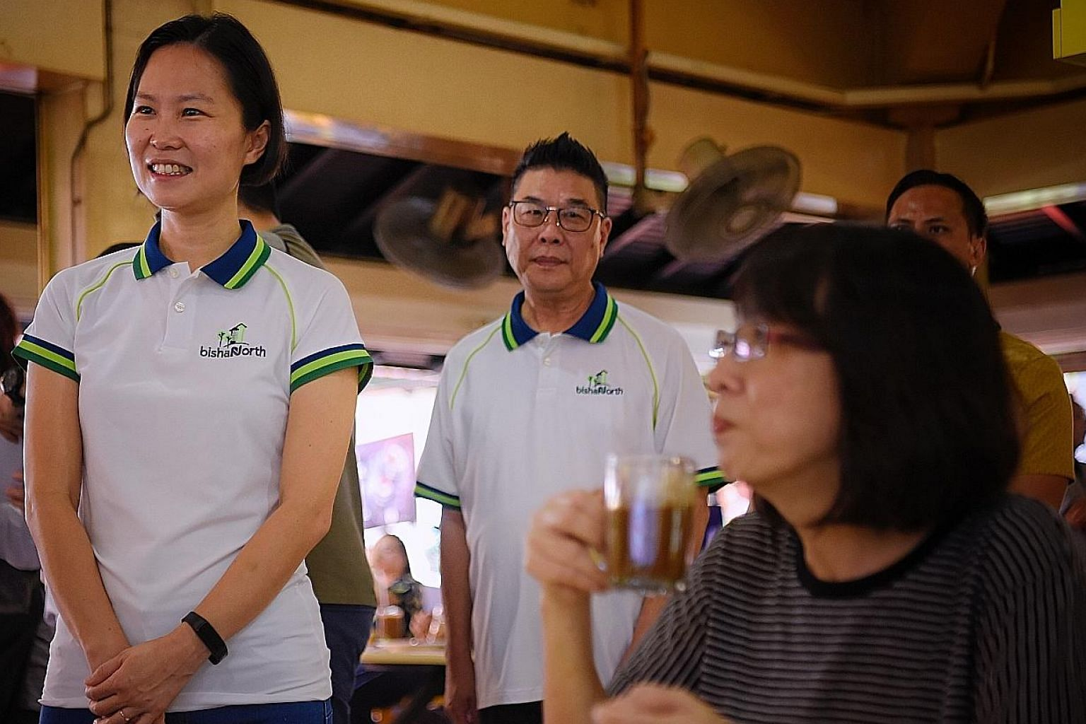 Former RSAF chief of staff - air staff Gan Siow Huang (left) spotted at a walkabout at a coffee shop in Bishan Street 24 yesterday. ST PHOTO: MARK CHEONG