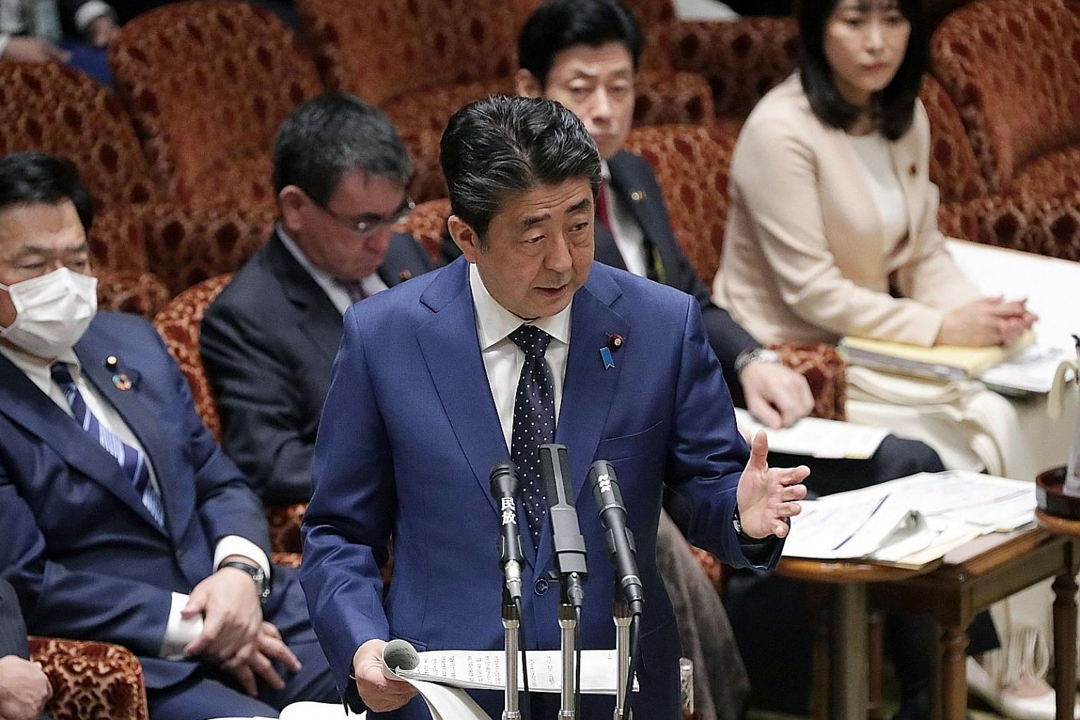 """Japanese PM Shinzo Abe acknowledging in Parliament yesterday for the first time that the Tokyo Olympics could be postponed to """"give top priority to the athletes""""."""