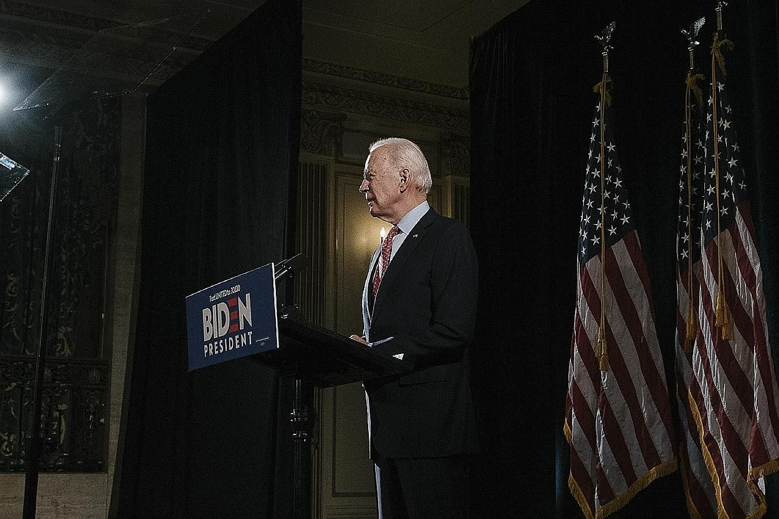 Democratic presidential front runner Joe Biden at a news conference on March 12. He said on Sunday that he has discussed his list of running mates with former president Barack Obama. PHOTO: NYTIMES