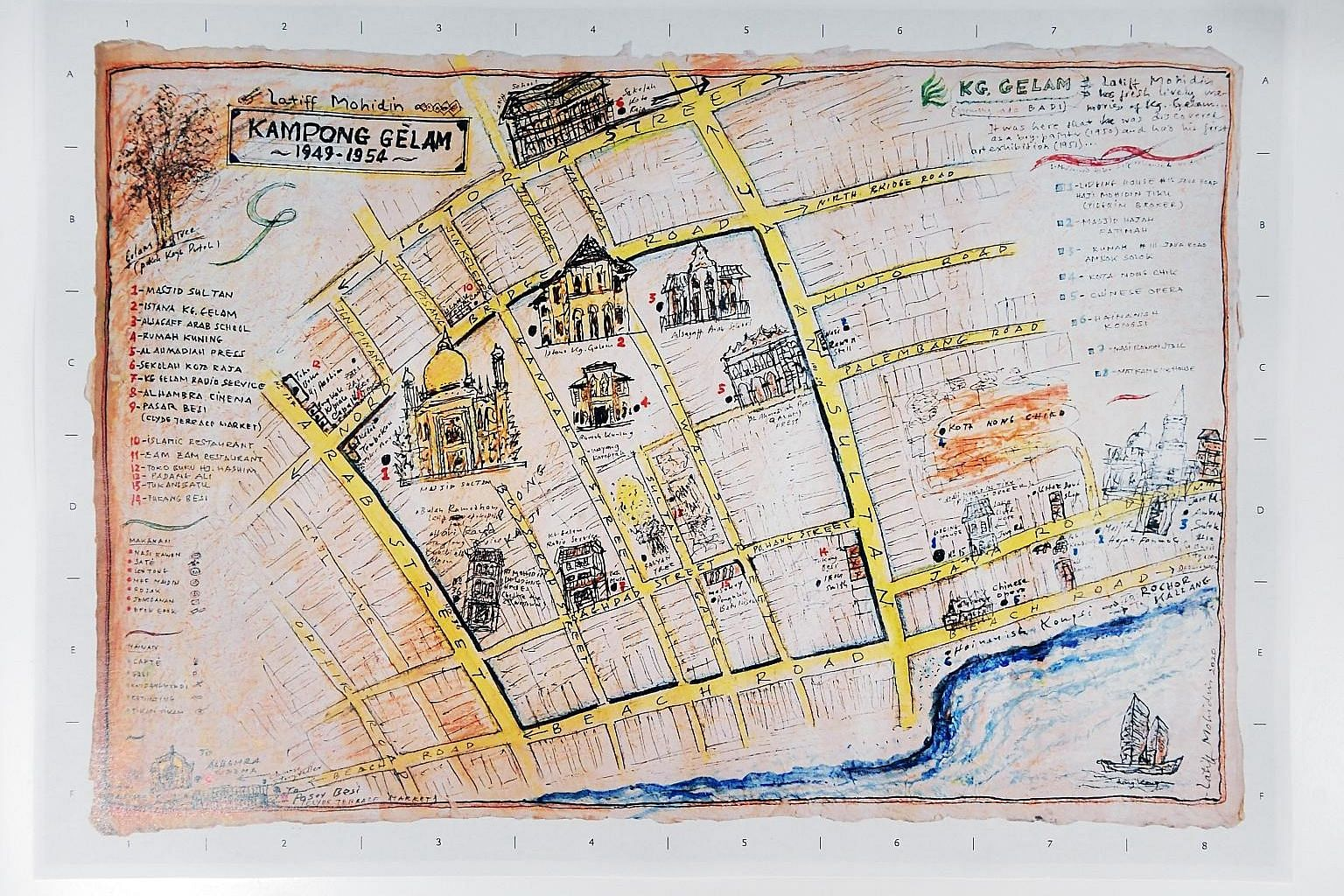 This hand-drawn map of the Kampong Gelam neighbourhood, featured in Latiff Mohidin: Pago Pago, is a detailed depiction of the Malaysian artist's memories of the neighbourhood in Singapore where he grew up, complete with annotations for his favourite