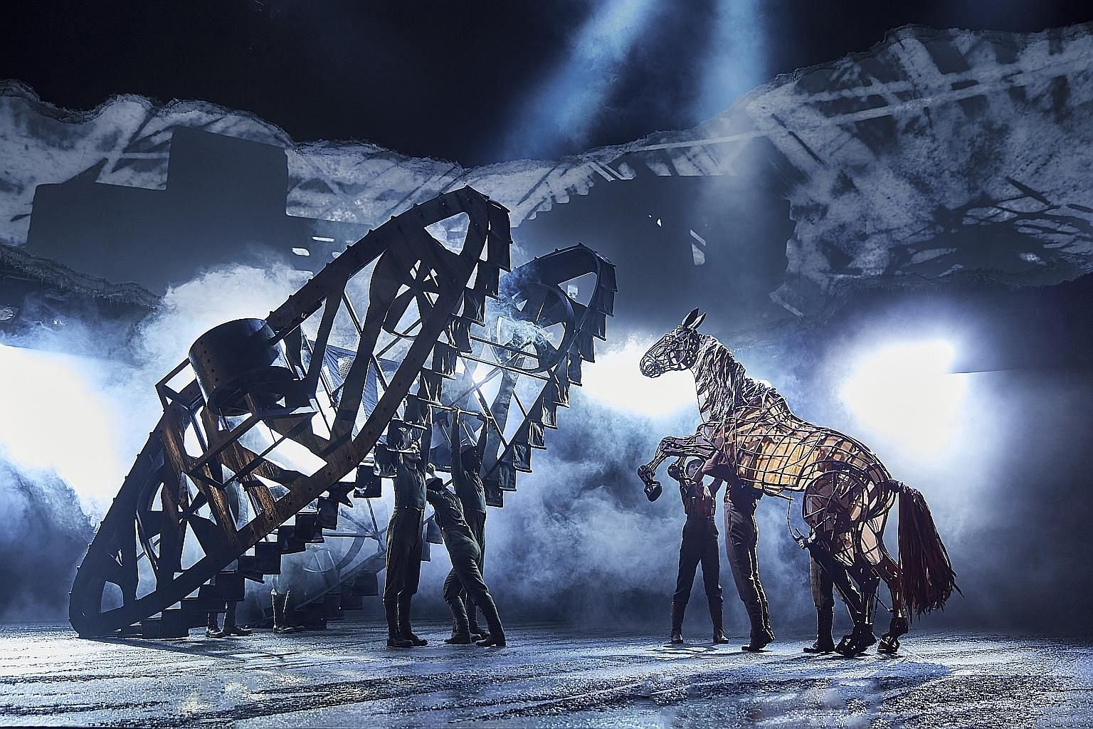 The West End hit, War Horse (left), was to have been staged at the Esplanade from April 24 to May 10.
